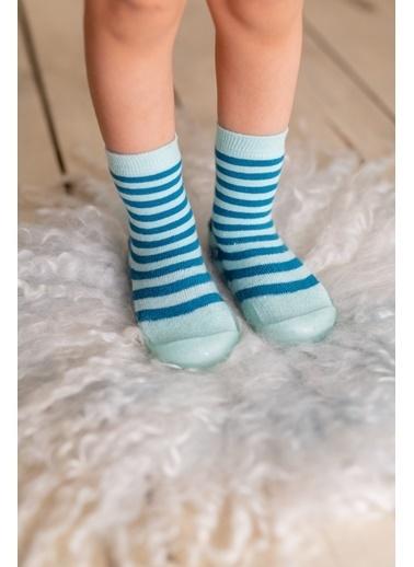 Nou Nou Çizgili Kaydırmaz Taban Çorap Panduf Yeşil